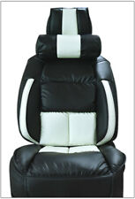 UNIVERSAL LIMOUSINE BLACK/WHITE S.LEATHER FRONT ONE SEAT COVER WITH NECK CUSHION