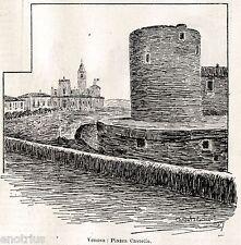 Venosa: Piazza Castello. Potenza. Basilicata. Stampa Antica + Passepartout. 1901
