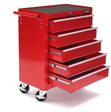 06192 Chariot d'atelier 5 tiroirs à outils servante caisse à roulettes rouge