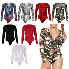 Women Ladies Plain Printed Cross Wrap Over V Neck Plunge Leotard Bodysuit Top