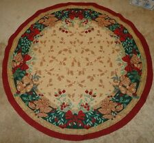 """Christmas Tapestry Table Cloth or Christmas Tree Skirt uncut 60"""" Beautiful"""