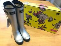 Joules Tall Silver Field Wellington Boots - UK3 - US 5 New - Rare - RRP £49.95