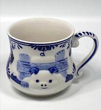 New listing Vintage 1984DELFT BLUE Handpainted Pig Piggy Coffee Cup Mug