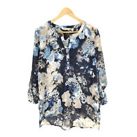 Soft Surroundings Tunic Top PM Long Sleeve Blue Polyester Floral V-Neck Blouse
