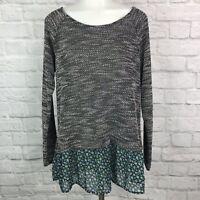 Bobeau Women's Medium Knit Top Gray Layered