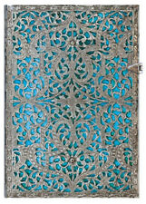 "Paperblanks Journal Silver Filigree ""Maya Blue"" Lined Midi 5x7"" Book Writing New"