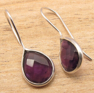 Real AMETHYST Pear Gemstones Drop Earrings 925 Silver Plated Over Copper