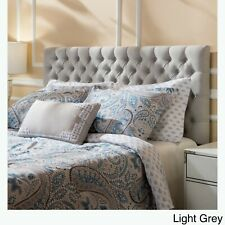 Grey Full / Queen Size Fabric Button Tufted Headboard Black Iron Legs Bed
