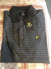 Lyle & Scott Striped Charcoal Marl Grey Polo Shirt Size M