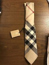 New Authentic Burberry Skinny Men Tie Nova Check Plaid Trademark Tan Beige $220