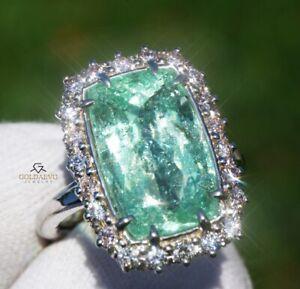 Paraiba Tourmaline Ring Diamond Gold 14K Natural GIA Certif 10.9CT RETAIL $16800