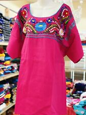 Mexican Hand Embroidered Colorful Flowers  Style Blouse S M L XL 2-3XL