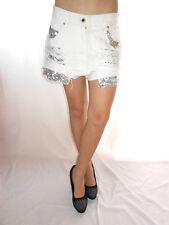 ARIZONA Womens Vtg White Jeans Hot Pants Shorts Sequin Hand Custom sz 14 AE44