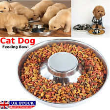 Feeder Bowl Stainless Steel Dish Puppy Dog Pet Cat Litter Food Feeding Weaning.