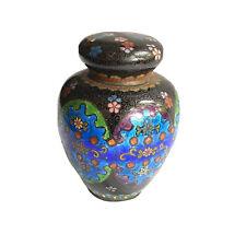 Antique Japanese Cloisonne Covered Tea Caddy - Floral Design - Sealed Ginger Jar