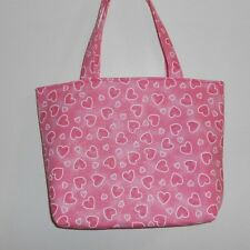 Handmade Valentine Two Sizes of Pink Hearts Purse Tote Bag