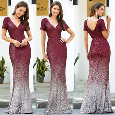 Ever-Pretty US Sequin V-neck Long Prom Dresses Mermaid Celebrity Party Ball Gown
