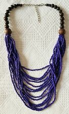 Navy Blue & Brown ~ Bead & Wood ~ Multi-Strand Bead Necklace