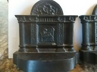 Antique Fireplace Cast Iron Lady Weaving Sewing Bookends 5x5""