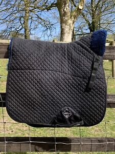 LeMieux Pro Lambskin Wool Navy Blue Dressage Saddlecloth Numnah Size Large
