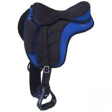 """Treeless Synthetic Endurance Saddle-Leathers & Irons Blue(Medium-17"""" English)"""