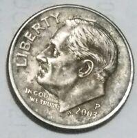 2003 P  Roosevelt Dime error- Struck Through Die Cap error coin