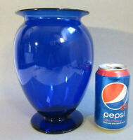 "Rare Vintage PAIRPOINT Hand Blown Art Glass Cobalt Blue 8.75"" Footed Vase Pontil"