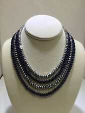 Blue Quartz and Silver faceted Rondelle multi- strand necklace with silver clasp