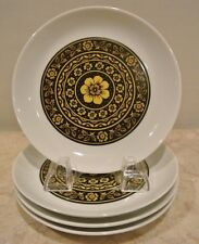 White, Black and Yellow Flowers Block BIDASOA 4 Bread Plates - Made in Spain