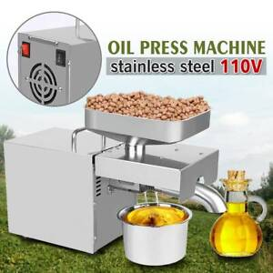 110V Stainless Steel Automatic Oil Press Machine Expeller Commercial & Home Use