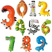 """16"""" Animal Number Balloons 0-9 BIRTHDAY PARTY Deflated ZOO Animals"""