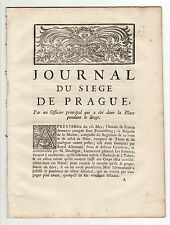 1742, Rare et Historique *JOURNAL DU SIEGE DE PRAGUE* par un Officier sur Place