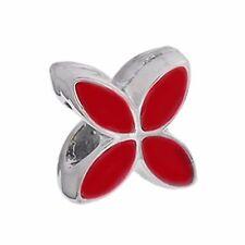 Clover Flower Red Enamel Silver Plated Spacer Charm for European Bead Bracelets