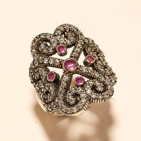 Natural Burmese Ruby Anniversary Ring 925 Sterling Silver two Tone Jewelry Gits