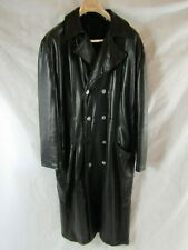 Vintage Gianni Versace Black Leather Coat Est. Size Large