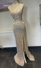 Stunning Sequin Long Prom Dress Evening Gown Size 8 Mermaid Tail Champagne Gold