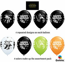 "10 Star Wars Latex 11""  Balloons  Qualatex Multi Color Happy Birthday"