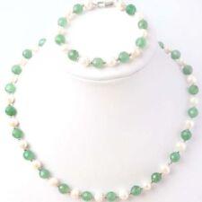 Natural 7-8mm White Freshwater Pearl & Aventurine Jade Necklace Bracelet Set