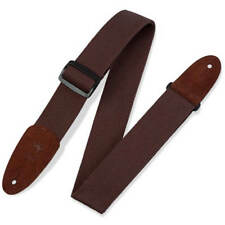 Levy's 2 Inch Cotton Guitar Strap Suede Ends - Brown