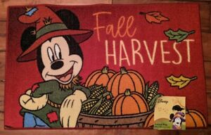 """Disney Mickey Mouse Fall Harvest Thanksgiving Accent Rug 20""""x 32"""" New"""