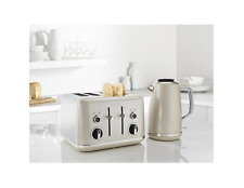Breville VKT063 VTT851 Cream & Chrome Kettle 4 Slot Toaster Matching Set
