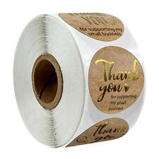 Stickers - Kraft Gold Thank You for supporting my small business - 50pcs