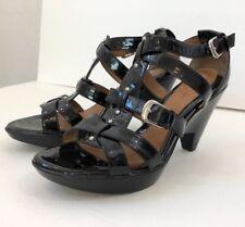 Sofft Black Patent Leather Buckle Strap Sandal Wedge Platform Size 6 1/2