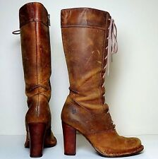 FRYE ' Villager Lace' Tall Rustic-Tan Distress-Aged Leather Boots US 7