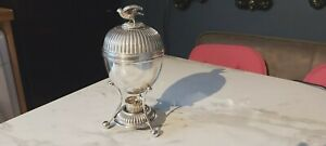 An Antique Silver Plated Egg Coddler.bird Handle.walker And Hall.circa 1861