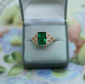 3Ct Emerald Cut Green Emerald & Diamond 14K Rose Gold Finish Engagement Ring