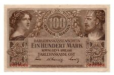 WWI GERMANY OCCUPATION OF LITHUANIA KOWNO 100 MARK 1918 BANKNOTE !