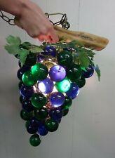 Vintage Mid Century Mormon Grape Cluster Hanging Retro Lamp WORKS! Green Blue