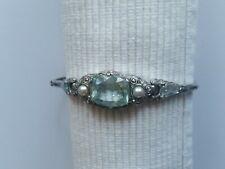 Armband art deco, Silber, Aquamarin