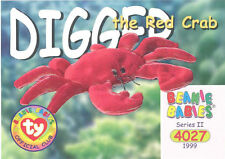 Ty Beanie Babies Bboc Card - Series 2 Common - Digger the Red Crab - Nm/Mint